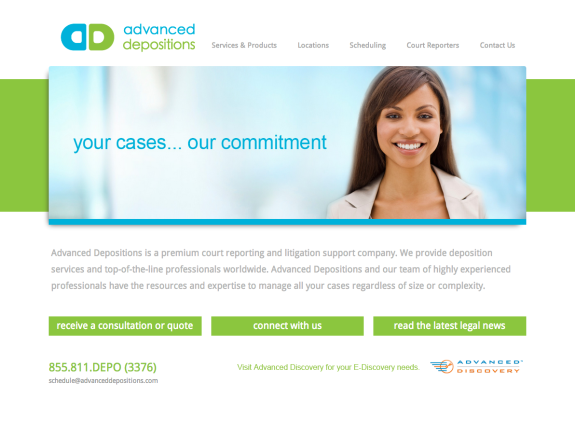 Advanced Depositions Website